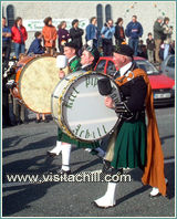 Drummers from three Achill pipe bands, St. Patrick's Day 2003